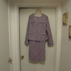 PREMISE Purple and gray tweed skirt suit